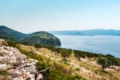 View from the hill on the Adriatic Sea in southern Croatia Royalty Free Stock Images