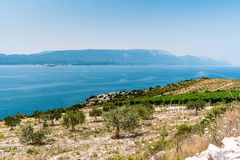 View from the hill on the Adriatic Sea in southern Croatia Royalty Free Stock Photography