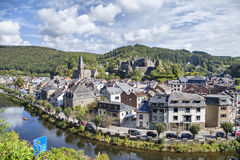 View from hill on belgian city La Roche-en-Ardenne Stock Image