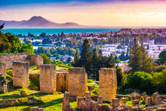 View from hill Byrsa with ancient remains of Carthage and landscape. Royalty Free Stock Photos