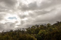 Cloudy sky over vista Point at Santa Ynez Valley, California, USA. royalty free stock photography