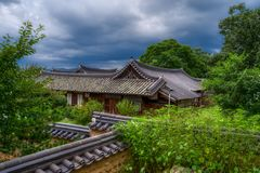 View from the hill of Jeonju Old Town. Hanok stock photo