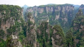 Avatar Mountains Of Zhangjiajie Forest Park With Stone Pillars Rock Formations. View hill landscape with high stone pillars and rock formations in Zhangjiajie stock video