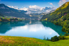 View from the hill on Lungerersee lake Royalty Free Stock Photos