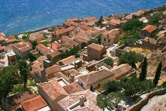 View from hill in Monemvasia, Greece Stock Image