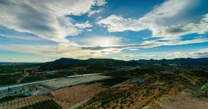View from hill near castle Sagunto. Sunset and moving clouds in Spain stock video footage