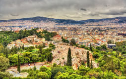 View of the Hill of the Nymphs in Athens Stock Photo
