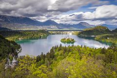 View from the hill Ojstrica to the most famous place in Slovenia Blejski Otok. Bled, Slovenia Royalty Free Stock Images