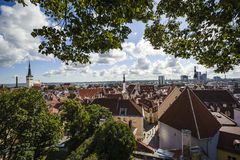 View from the hill on old town, visible roofs of tenements and c Royalty Free Stock Images