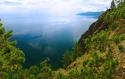 View from hill onto the lake. On a sunny day Royalty Free Stock Image