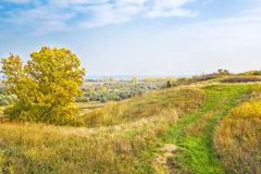 View from the hill on a sunny autumn day Stock Photo