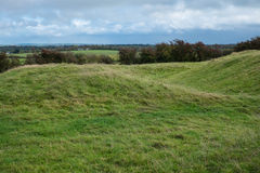 View from the hill of Tara. Hilly terrain at ancient historic site in the Irish midlands Royalty Free Stock Photo