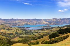A view from a hill to Barrys bay near Akaroa, New Zealand Royalty Free Stock Photography