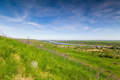 View from the hill to the river. Time Lapse 4K.Rossiya. Rostov region. View from the hill to the river stock video