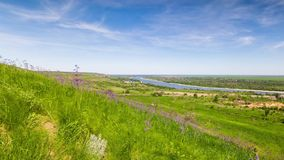 View from the hill to the river. stock footage