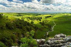 View from the hill top in the Yorkshire Dales near Malham stock image