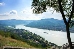 A view from the hill of Visegrad castle to Danube river and a ship, villages and mountains Stock Images