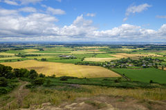 View from hills down to North Yorkshire rural landscape royalty free stock photography