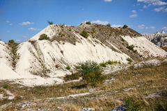 View on hills and fields from a limestone cliff Stock Images