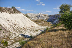 View on hills and fields from a limestone cliff Royalty Free Stock Image
