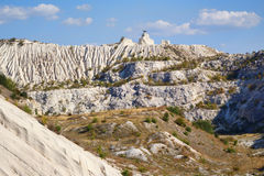View on hills and fields from a limestone cliff Royalty Free Stock Images