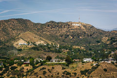 View of hills and the Hollywood Sign from  Mulholland Drive  Royalty Free Stock Photo