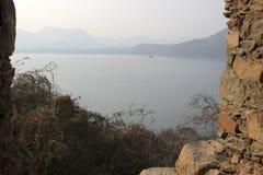 View of Hills and Lake. Fateh Sagar from Moti Magri Hill near Pratap Smarak in Udaipur, Gujarat, India, Asia Royalty Free Stock Images