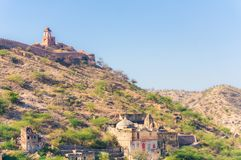 View of hills and mountains near Amer town, Rajasthan, India with ancient wall royalty free stock images
