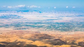 View of hills in Promised Land from Mount Nebo. Travel to Middle East country Kingdom of Jordan - above view of hills in Promised Land from Mount Nebo in winter Royalty Free Stock Photo