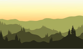 View of hills silhouette Stock Images