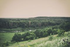 View from the hills to the valley of the river Karay in the Saratov region of Russia.  Stock Photo