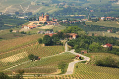 View on hills and vineyards of Piedmont, Italy. Stock Photography