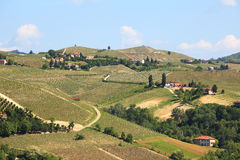 View on hills and vineyards of Piedmont, Italy. Royalty Free Stock Photo