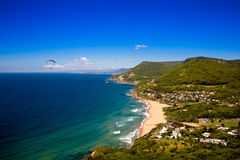 View from hilltop of coastline Stock Photography