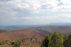 View from a hilltop on a spring landscape Royalty Free Stock Image