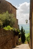 View from the hilltop town of Pienza in Tuscany. View from the medieval hilltop town of Pienza in Tuscany, Italy Royalty Free Stock Photos