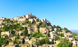 View of hilltop village Gordes. France Royalty Free Stock Photos