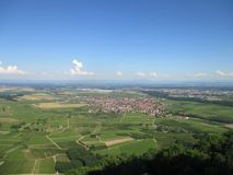 View from a hilltop at Scherwiller village and across the plane of river rhine. Alsace, France royalty free stock images