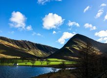 View of the hilly countryside. Countryside of lake district in england Royalty Free Stock Photography