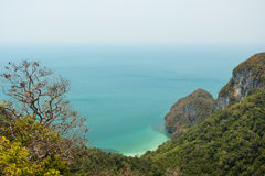 View of hilly island, coastline & ocean in Thailand Stock Photos