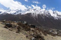 Langtand valley trekking mountain in Nepal. View of Himalaya in Langtang trek valley Royalty Free Stock Photography