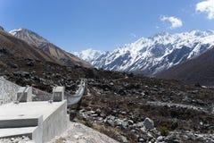 Langtand valley trekking mountain in Nepal. View of Himalaya in Langtang trek valley Royalty Free Stock Photos