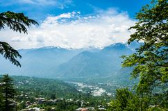 View of Himalaya mountains from Roerich house Stock Photos