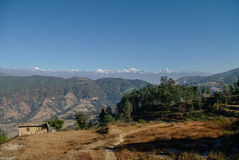 View of the Himalayan mountain and village near Nagarkot, Kathma Stock Images