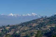 View of the Himalayan mountain and village near Nagarkot, Kathma Royalty Free Stock Image