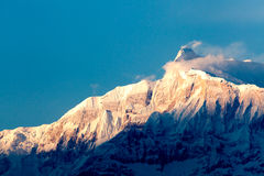 View of the himalayan peak Machhapuchhare, Pokhara, Nepal Royalty Free Stock Images