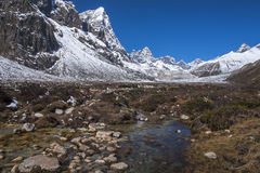 View of the Himalayas (Awi, Cholatse, Tabuche Peak) from Pherich Royalty Free Stock Photos