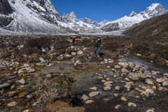 View of the Himalayas (Awi, Cholatse, Tabuche Peak) from Pherich Stock Photos