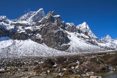 View of the Himalayas (Awi, Cholatse, Tabuche Peak) from Pherich Stock Photo