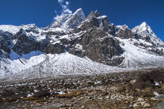 View of the Himalayas (Awi, Cholatse, Tabuche Peak) from Pherich Stock Images